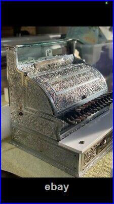 A lovely Antique brass cash register till (national) shop pub display prop