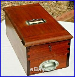 AWESOME CHERRYWOOD 1900's ANTIQUE WOODEN CASH REGISTER/TILL WITH TAPE & KEY