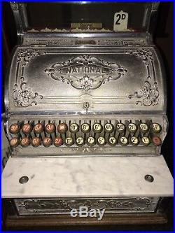 Antique National Cash Register Vintage till With Rare Original Top sign VGC