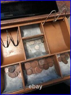 Antique Pre Decimal National Crank Handle Cash Register Till Metal Wood Effect
