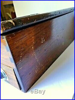 Antique Wood Counter Till Box or Cash Register with Drawer & Slot for Record Roll