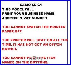 NEW WHITE CASIO SE-G1 CASH REGISTER SHOP TILL THERMAL PRINTER & 20 Extra Rolls