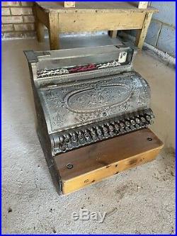 National Cash Register Dayton Ohio vintage Antique Shop Prop Display Brass Till