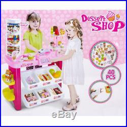 New Kids 40pc Desert Shop Supermarket Cash Register Till Toy Stall Set Xmas Gift