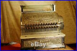 Original Antique National Cash Register Till Complete Nickle Plated Bronze