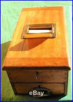 RARE ANTIQUE 19th C VINTAGE LOCKABLE OAK CASH MONEY BOX REGISTER TILL KEY & TAPE