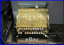 Victorian Brass National Cash Register Till Vintage Fleur Edwardian Old