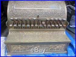 Victorian Brass National Cash Register Till Vintage Floral Design Edwardian Old