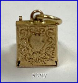 Vintage 14K Gold Antique Cash Register Till Love (Heart) 4 Sale Charm Pendant