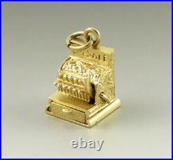 Vintage 14K Gold Mechanical Antique Cash Register Till Love 4 Sale Charm/Pendant
