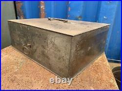 Vintage Antique LARGE Safe Cash Till Register Strongbox Industrial