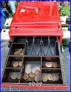 Vintage Art Deco Bakelite GROSS Cash Register Till Retro Red ker-ching bell