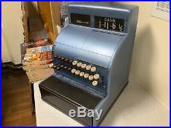 Vintage National Till Cash Register Blue
