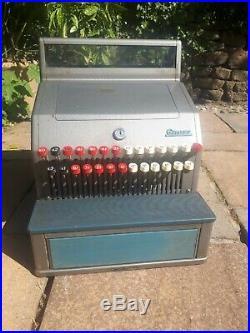 Vintage Retro Gross Retail Till Cash Register Metal Blue Red Old Shop Fittings