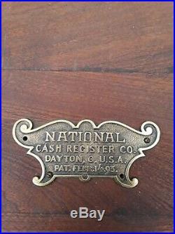 Vintage wooden Antique National Cash Register or Till circa 1914